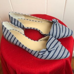 Talbots Flats Shoes Size 10 Blue Ivory Stripes